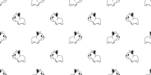 Dog seamless pattern vector french bulldog tile background scarf isolated wallpaper