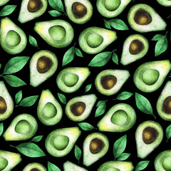 Seamless watercolor pattern with avocados. Great for textile design, home decor, wallpapers, print, wrapping paper etc.