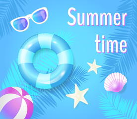 Summer Time Poster with Items Vector Illustration