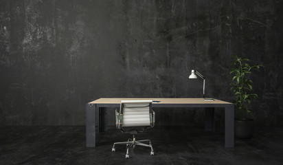 Desk with lamp and chair in dark room