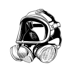 Vector engraved style illustration for posters, logo or emblem. Hand drawn sketch of firefighter gas mask isolated on white background. Detailed vintage etching style drawing.