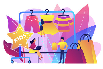Showroom with kids clothes on hangers, designer and customers with shopping bags. Kids fashion, baby style showroom, kids clothes market concept. Bright vibrant violet vector isolated illustration