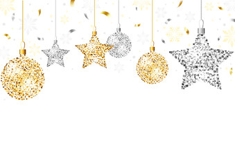Christmas Background with Golden Glitter Ornaments and Silver Glitter Ornaments with Falling Confetti on White Background - Colored Illustration, Vector