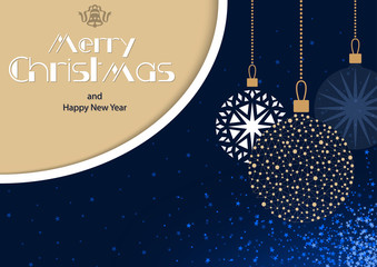 Blue Merry Christmas Greeting Card with Hanging Baubles and Glitter Starry Background and Golden Corner with Texts - Abstract Illustration, Vector
