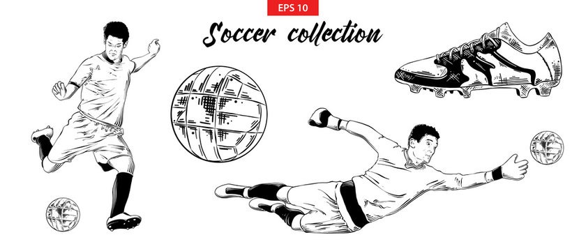 Vector engraved style illustration for logo, emblem, label or poster. Hand drawn sketch set of soccer football players, shoe and ball isolated on white background. Detailed vintage doodle drawing.