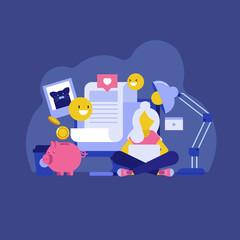 Blogging,posting,content strategy vector flat illustration.