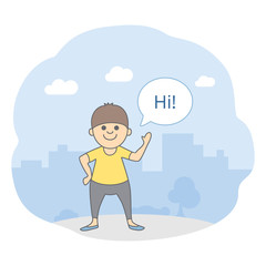 Welcome picture for presentations. A friendly young man is waving his hand and saying HI, city silhouette on background. Isolated vector illustration in line style.