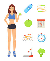 Woman Sportive Lady Icons Vector Illustration
