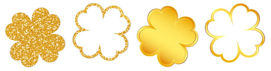 4 Clover Leafs Sparkling Shining Gold