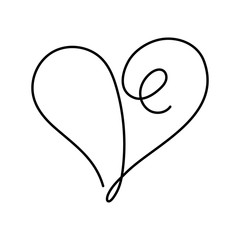 Heart continuous line drawing with editable stroke in vector illustration.