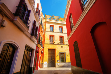 alley in the old town of Seville, Spain