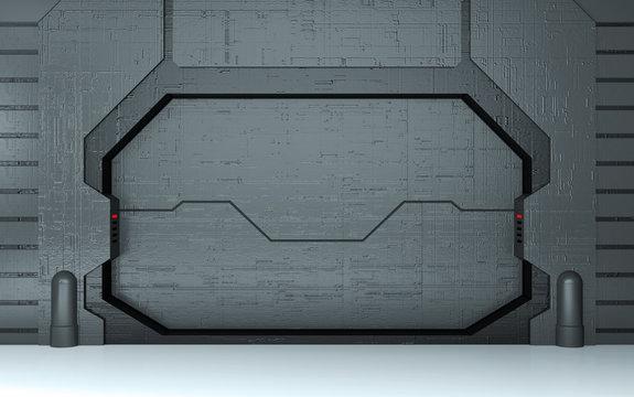 Futuristic metallic door