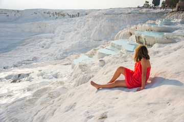 Pamukkale, natural pool with blue water and girl, Turkey