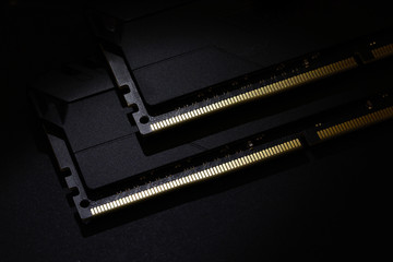 Close-up of Computer RAM (Random Access Memory) module on black background. Wall mural