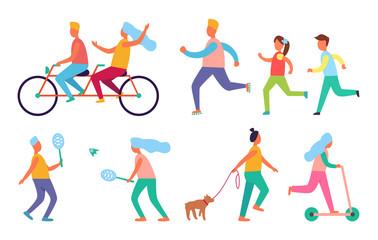 People Outdoor Activities Hobby Icons Vector Set