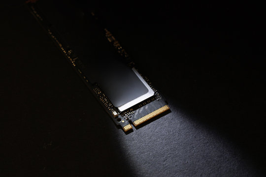 Close-up of fast SSD M.2 - Solid State Drive on black background