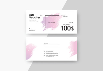 Gift Voucher Layout with Gradient Paint Strokes