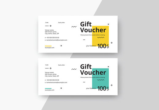 Gift Voucher Layouts with Color Blocks