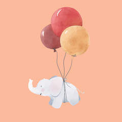 Fototapete - Watercolor baby elephant illustration