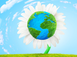 flower Earth ecology concept 3D illustration