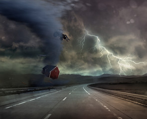 storm and bad weather on road