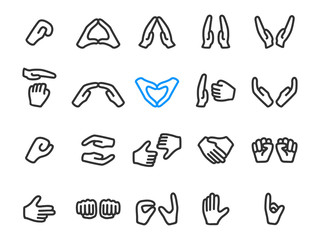 Set of gesture icons with two hands, outline style, vector. Collection of gestures: clap, heart, handshake and other