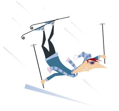 Skier man isolated illustrationю Falling down cartoon skier man isolated on white illustration