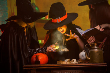 Picture of three witches in hats cooking poison on cauldron