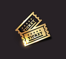 Golden Vintage Ticket Icon on dark background. Gold on black