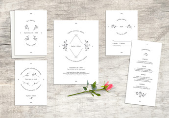 Wedding Stationery Set with Geometric and Floral Elements