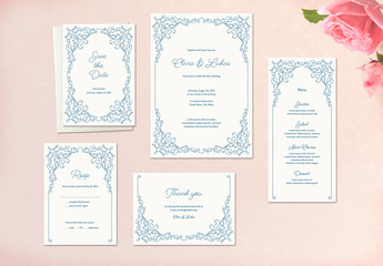 Wedding Stationery Set with Blue Ornamentation