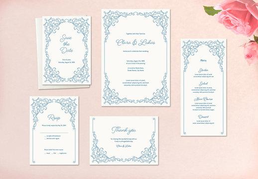 Wedding Stationery Set with Blue Ornamentation