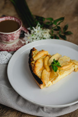 Apple pie with cinnamon and mint