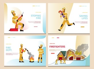 Vector Illustration Cartoon Concept Firefighter