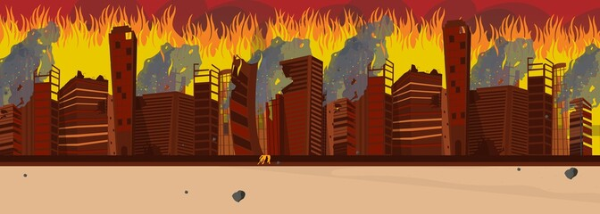Vector Illustration Cartoon Burning City Building