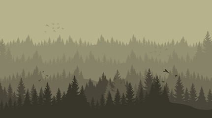 Vector Illustration Cartoon Silhouette Pine Forest