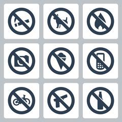 """Vector """"prohibitory signs"""" icons set: no smoking, no dogs, no fire, no cameras, no icecream, no cell phones, no bicycles, no guns, no alcohol"""