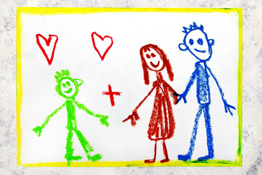 Colorful drawing: foster family. A smiling couple and their adopted child