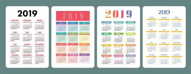 Calendar 2019. English colorful set. Week starts on Sunday. New Year. Basic grid