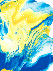 Blue and yellow creative abstract hand painted background.
