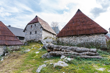 Stone houses in Lukomir, remote village in Bosnia