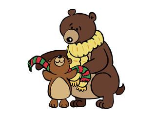 Illustration of bear and cub