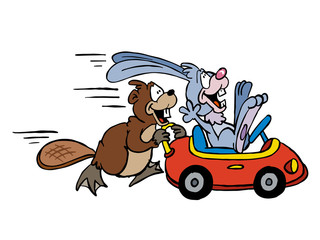 Illustration of a Beaver and a Rabbit playing with a toy car
