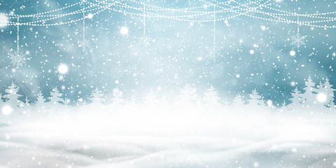 Fotomurales - Natural Winter Christmas background with blue sky, heavy snowfall, snow, snowy coniferous forest, light garlands, snowdrifts. Holiday winter landscape for Merry Christmas. Christmas scene.