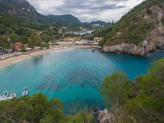 Beautiful Paleokastritsa bay with sand beach on Corfu, Kerkyra, Greece