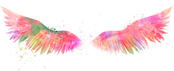 magic watercolor wings Wall mural
