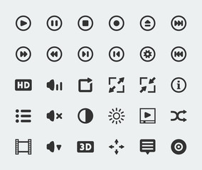 Vector video player mini icons set