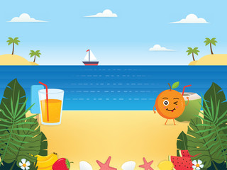 Summer background illustration. Summer sunny landscape. Summer beach with sea water, Summertime, Floral and fruit. Beautiful tropical beach background