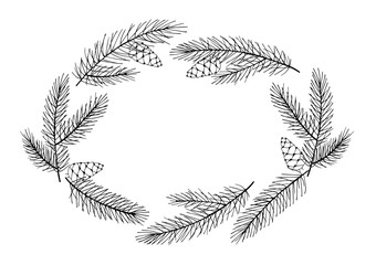 Spruce Branches and Pine Cones Christmas Wreath. Vector Winter Frame