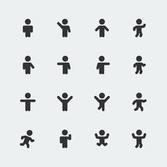 Stick men vector icons set